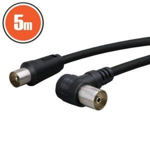 Antenski kabel 5m 90° črn