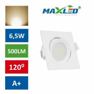 LED vgradna svetilka 6,5W kvadratna toplo bela
