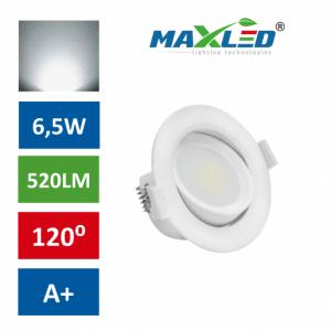 LED vgradna svetilka 6,5W okrogla nevtralno bela