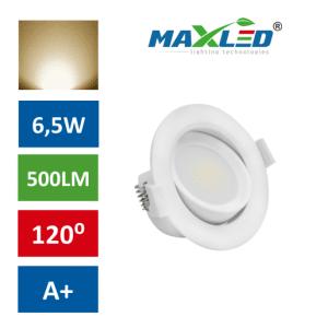 LED vgradna svetilka 6,5W okrogla toplo bela