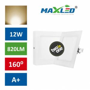 LED vgradna/nadrgadna svetilka 2v1 12W kvadratna toplo bela