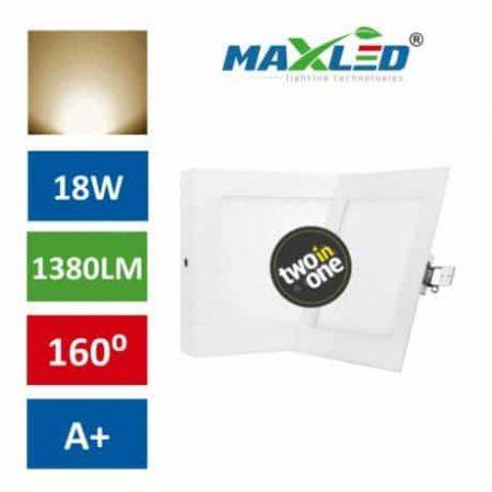 LED vgradna/nadrgadna svetilka 2v1 18W kvadratna toplo bela