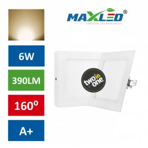 LED vgradna/nadrgadna svetilka 2v1 6W kvadratna toplo bela
