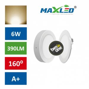 LED vgradna/nadrgadna svetilka 2v1 6W toplo bela okrogla
