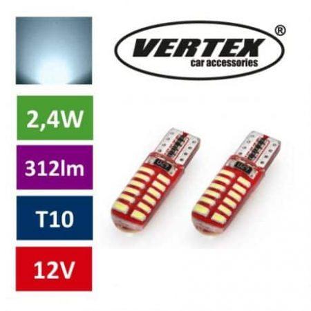 Avto LED žarnica (sijalka) T10 24 SMD 3014 CANBUS 2,4W 12V 2 kosa