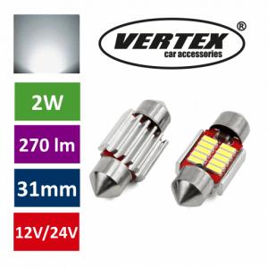 Avto LED sijalka 31mm 10 SMD 4014 CANBUS 2W 12/24V 5000K 2 kosa