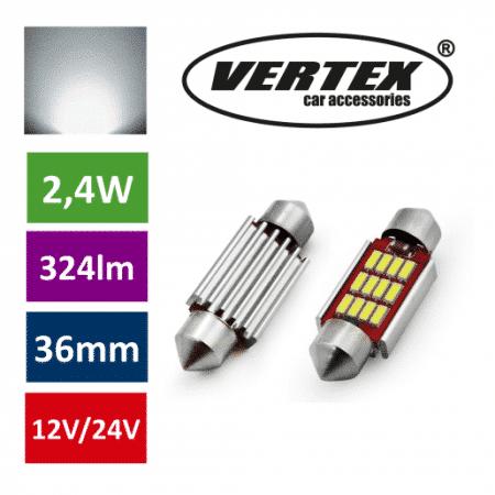 Avto LED sijalka 36mm 12 SMD 4014 CANBUS 2,4W 12/24V 5000K 2 kosa