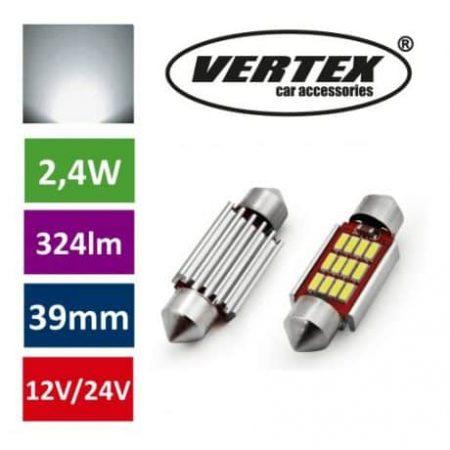 Avto LED sijalka 39mm 12 SMD 4014 CANBUS 2,4W 12/24V 5000K 2 kosa