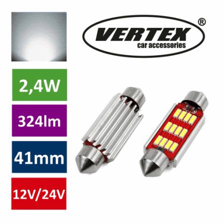 Avto LED sijalka 41mm 12 SMD 4014 CANBUS 2,4W 12/24V 5000K 2 kosa
