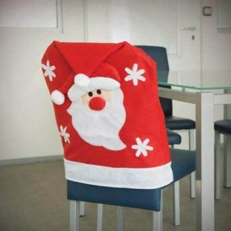 Božična prevleka za stol božičkova kapa z božičkom 48x67cm