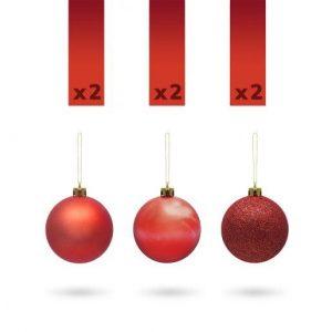 Kroglice za božično drevesce rdeče 4cm 6 kosov