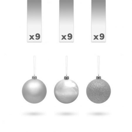 Kroglice za božično drevesce srebrne 3cm 27 kosov