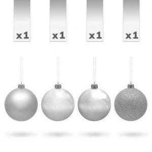 Kroglice za božično drevesce srebrne 7cm 4 kosi
