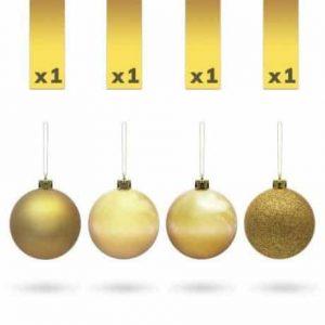 Kroglice za božično drevesce zlate 7cm 4 kosi