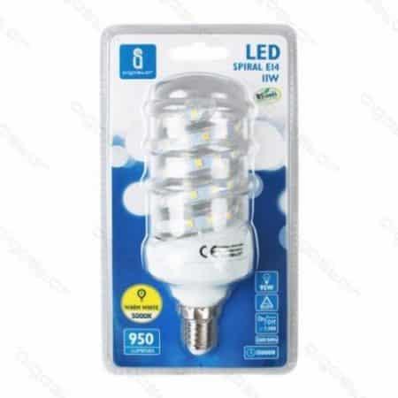 LED žarnica - sijalka E14 B5 11W (100W) spiralna hladno bela 6400K