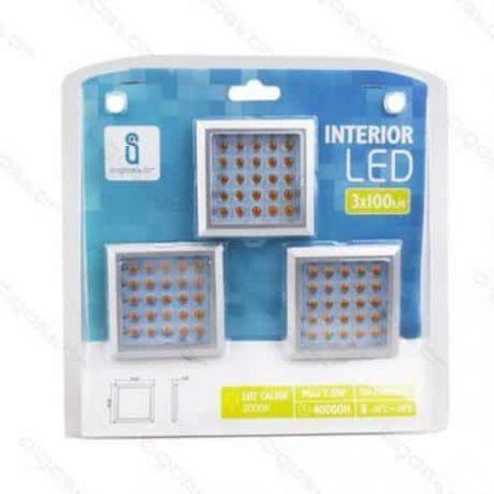 Pohištvene LED svetilke kvadratne 7.5W 3000K 3 kosi + napajalnik