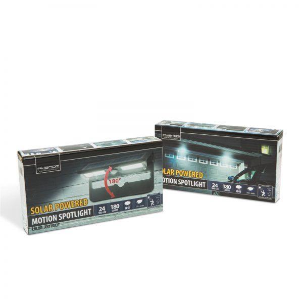 LED solarni reflektor IP65 s senzorjem gibanja 2 x 12 LED črn