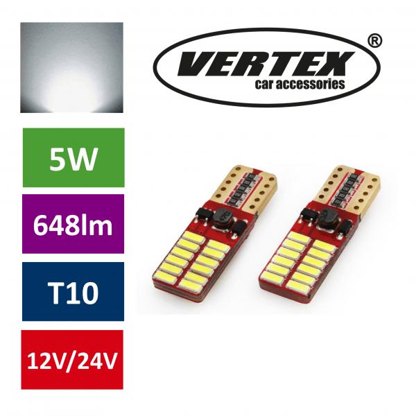 Avto LED žarnica (sijalka) T10 24 SMD 4014 CANBUS 5W 12V/24V 2 kosa