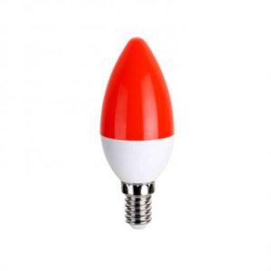 LED žarnica - sijalka E14 C30 5W rdeča