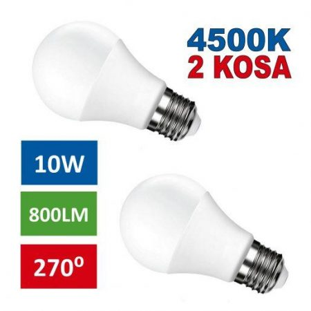 2x LED žarnica - sijalka E27 10W nevtralno bela