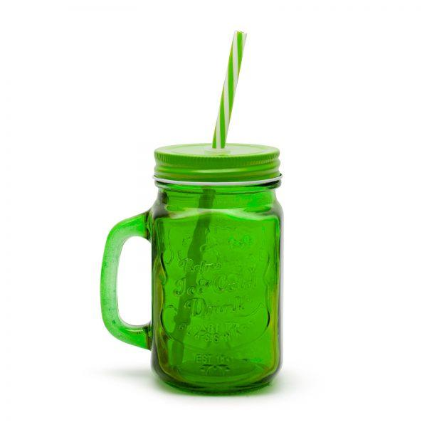 Retro stekleni kozarec s slamico