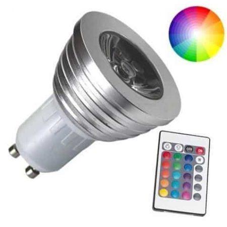 RGB LED sijalka GU10 3W z IR daljinskim upravljalnikom