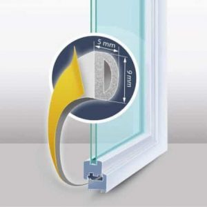 """Tesnilni trak za okna in vrata """"D"""" profil bel"""