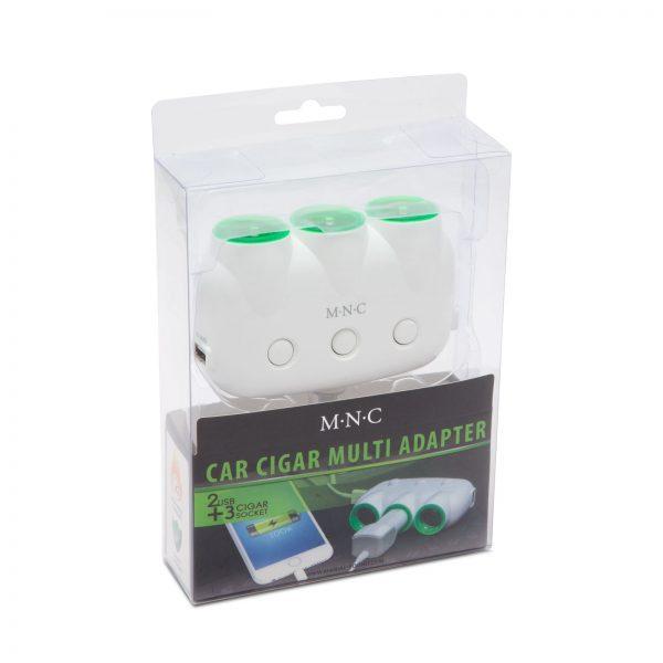 Avto razdelilec na 3 vtičnice + 2 x USB 12V/24V belo zelen