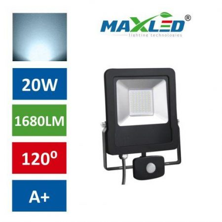 LED reflektor STAR PREMIUM 20W hladno beli 6000K s senzorjem