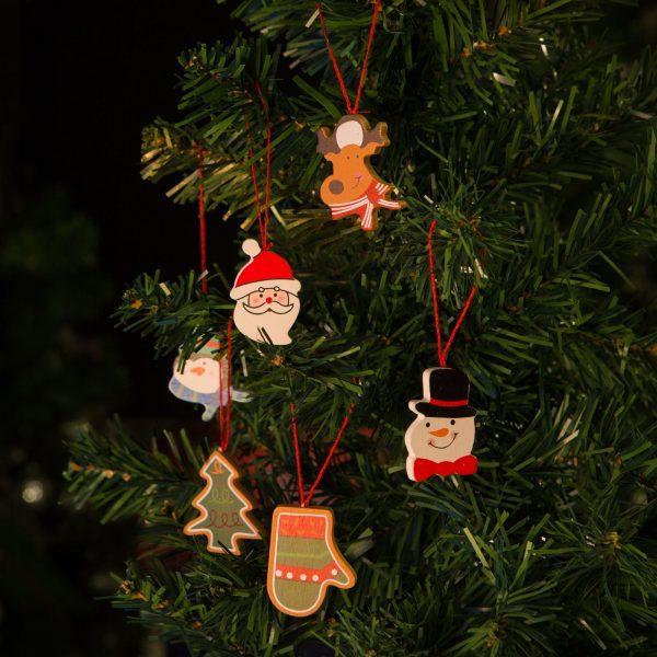 Set lesenih božičnih okraskov 6x2 kosa