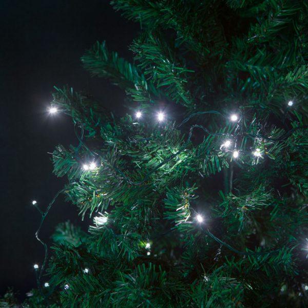 Novoletne lučke za notranjo uporabo hladno bele 5m 100 kos z programatorjem