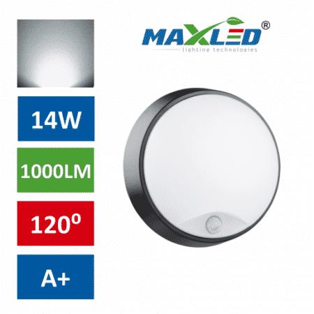 LED bulkhead 14W s senzorjem gibanja IP54 nevtralno bela 4000K