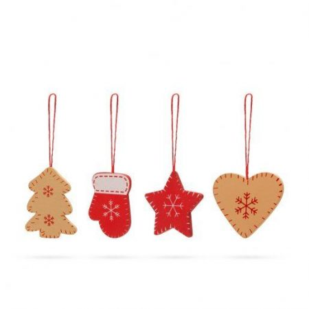 Set lesenih božičnih okraskov 4x3 kosi