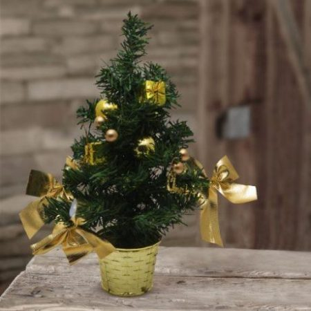 Mini okrašena božična smrekica srebrna