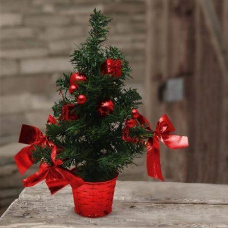 Mini okrašena božična smrekica rdeča