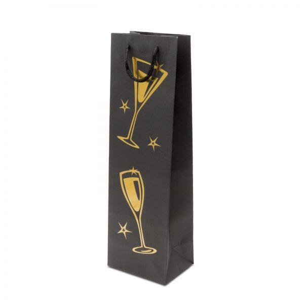 Okrasna darilna vrečka za steklenico iz močnega kartona z zlatim vzorcem.