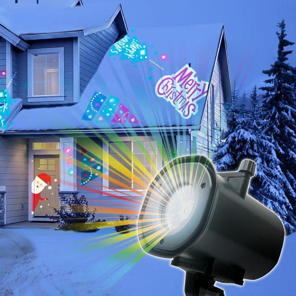 Praznični LED projektor z različnimi motivi