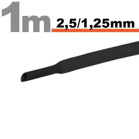Termoskrčljiva cev - skrčka 2,5/1,25mm črna 1m