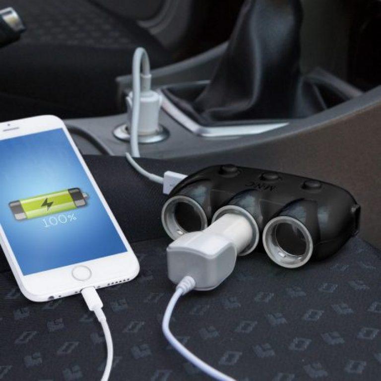 Avto razdelilec na 3 vtičnice s pdoaljškomin stikalom + 2 x USB 12V/24V črn