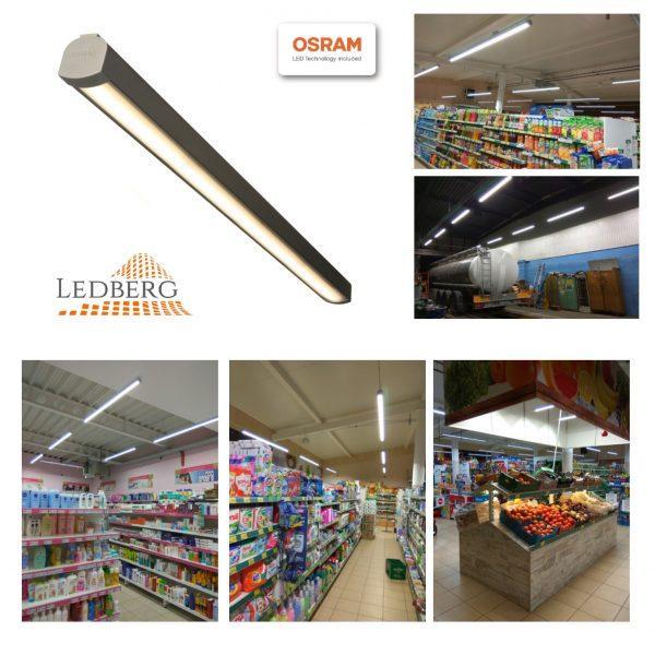 Premium LEDBERG OSRAM® stropna ALU LED svetilka AXION 150cm 50W 7500lm 3000K/4000K/5000K srebrna