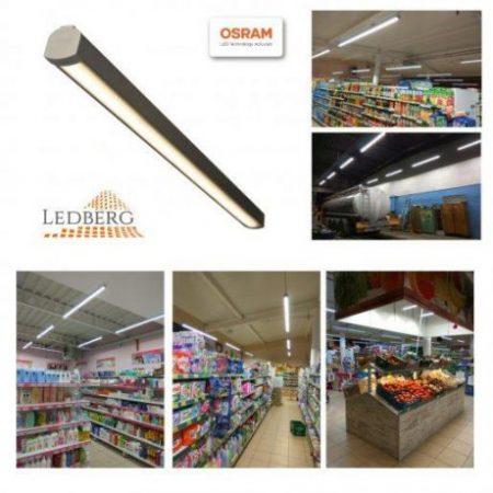 Premium LEDBERG OSRAM® stropna ALU LED svetilka AXION 300cm 100W 15000lm 3000K/4000K/5000K srebrna