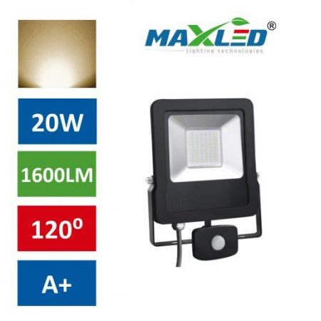 LED reflektor STAR PREMIUM 20W toplo beli 3000K s senzorjem
