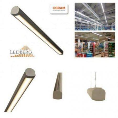Premium LEDBERG OSRAM® stropna ALU LED svetilka AXION 100cm 35W 5000lm 3000K/4000K/5000K srebrna