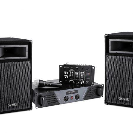 Komplet 2 zvočnikov 250W + ojačevalec Dixon Combo + mešalnik + mikrofon