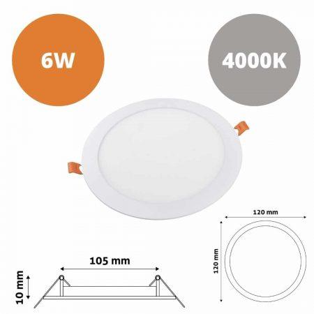 ALU LED vgradni panel okrogli 6W nevtralno beli 4000K