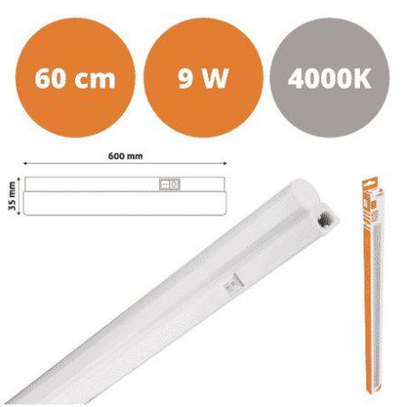 Integrirana podelementna T5 LED svetilka 9W 60 cm PVC nevtralno bela 4000K