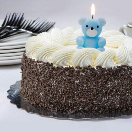 Svečka za na torto v obliki medvedka modra
