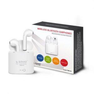 Brezžične bluetooth slušalke z mikrofonom in polnilno postajo earpods TWS-01 Savio