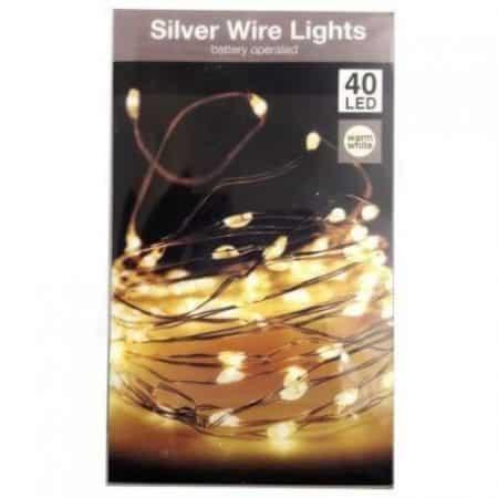 Novoletne lučke sliver wire na baterije 40 LED toplo bele 3xAA