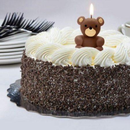 Svečka za na torto v obliki medvedka rjava